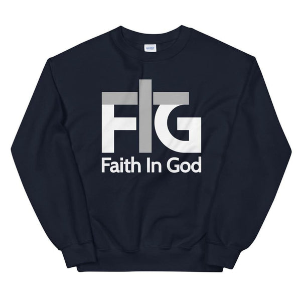 Sweatshirt Faith in God 2 White Unisex - Navy / S