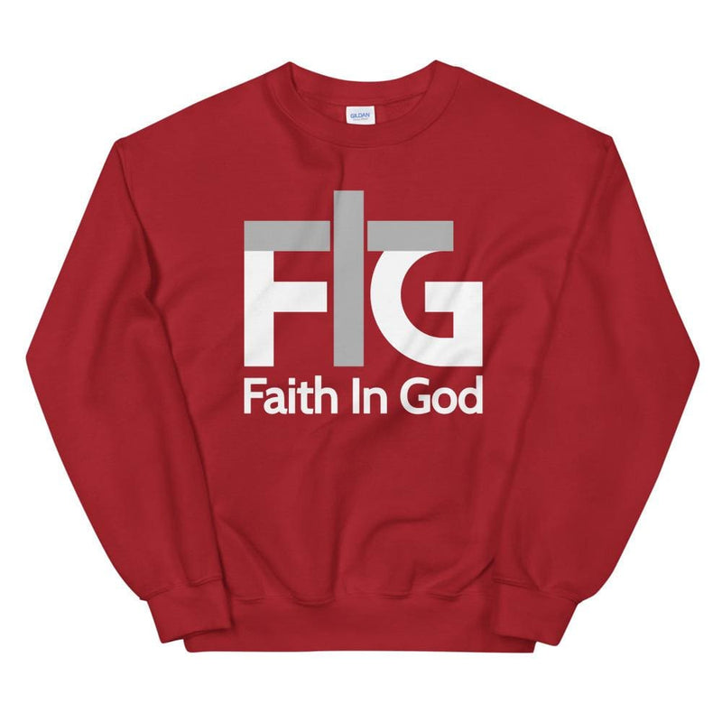 Sweatshirt Faith in God 2 White Unisex - Red / S