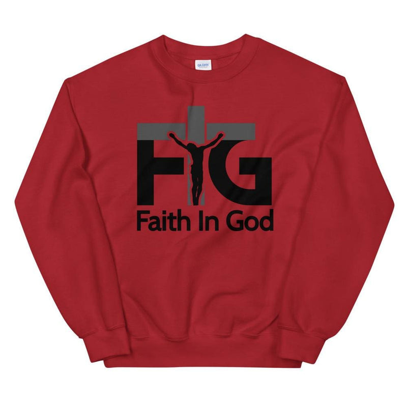 Sweatshirt Faith in God 3 Black Unisex - Red / S