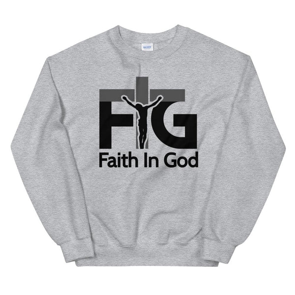 Sweatshirt Faith in God 3 Black Unisex - Sport Grey / S
