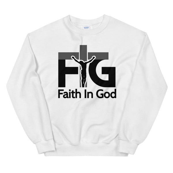 Sweatshirt Faith in God 3 Black Unisex - White / S