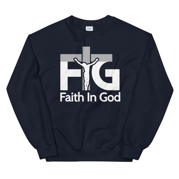 Sweatshirt Faith in God 3 White Unisex - Navy / S