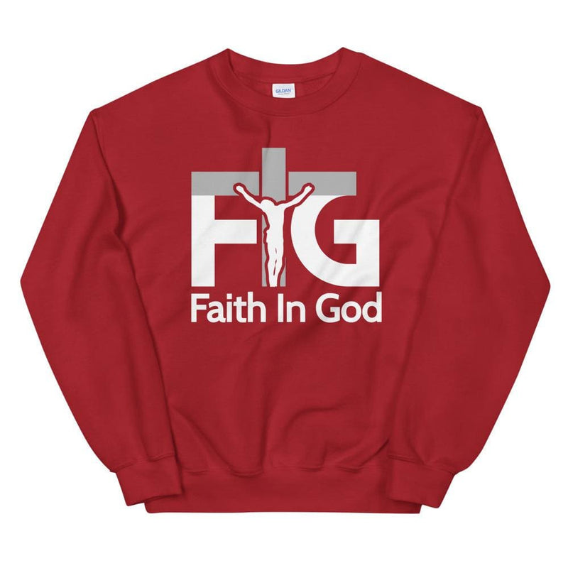 Sweatshirt Faith in God 3 White Unisex - Red / S