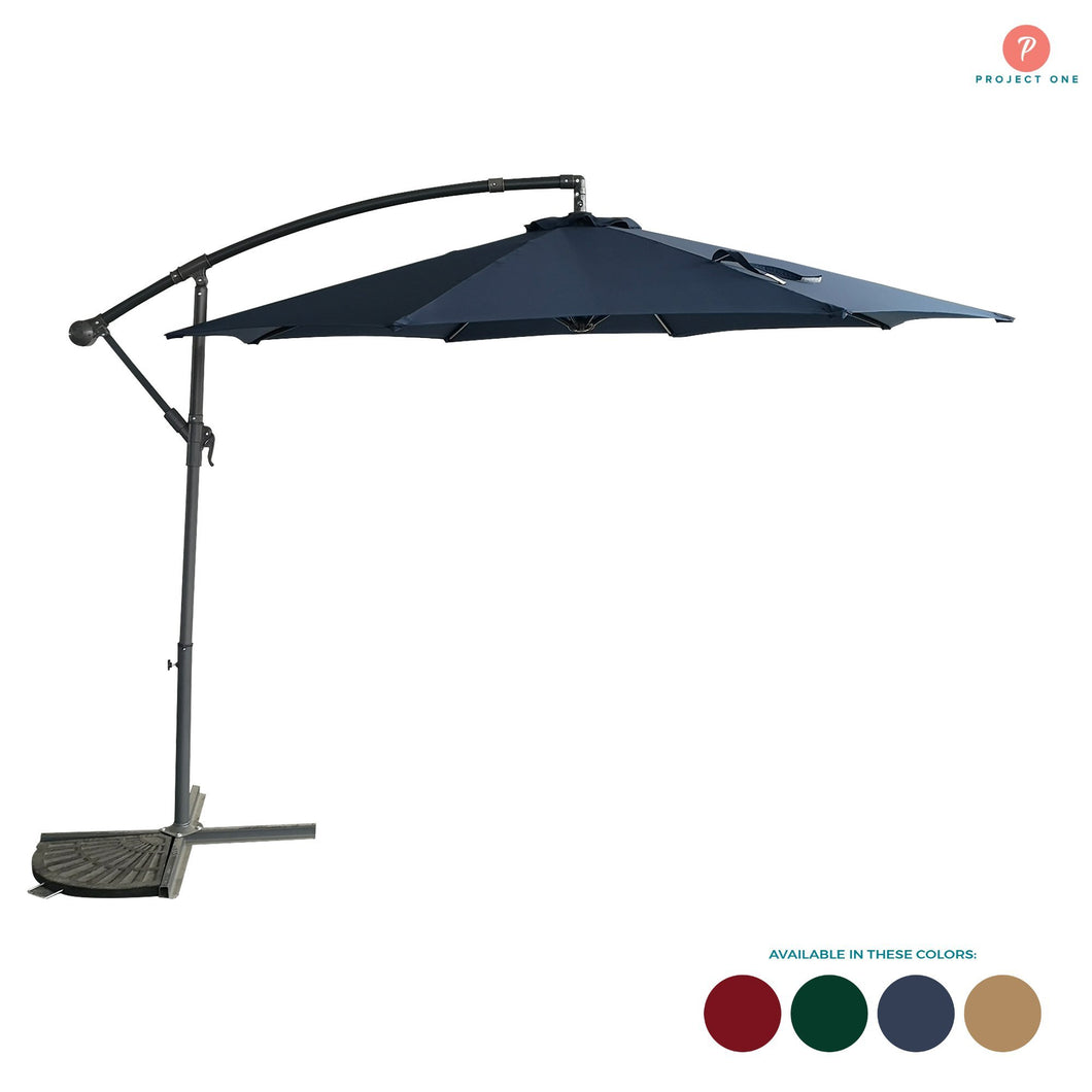 10ft Patio Offset Cantilever Umbrella with Crank & Cross Base for Garden - Project One Products