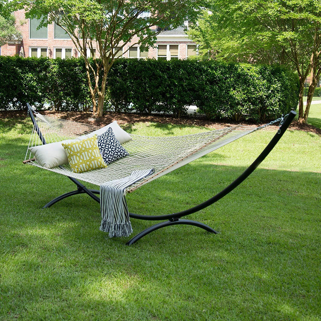 12FT Rope Hammock, Double Size Solid Wood Spreader Bar, 2 Person 450 Pound Capacity - Project One Products