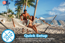 Load image into Gallery viewer, 12FT Steel Hammock Stand, w/Adjustable Hanging Hooks, Heavy Duty 500 LBS Capacity - Project One Products