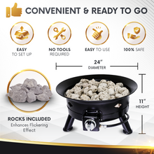 Load image into Gallery viewer, Project One Portable Outdoor Propane Fire Pit with Cover, Carry Kit, & Lava Rocks, 24-Inch Diameter 58,000 BTU, Diamond Pattern