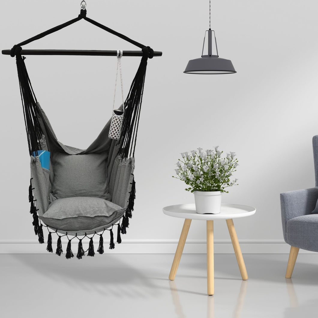 Hanging Rope Hammock Chair with 2 Pillows, Carrying Bag, and Hardware Kit, 300 Pound Capacity - Project One Products