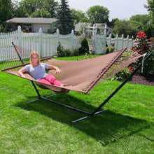 Load image into Gallery viewer, Polyester Soft-Spun Rope Hammock, 51inch Large Double Wide Two Person with Spreader Bars - Project One Products