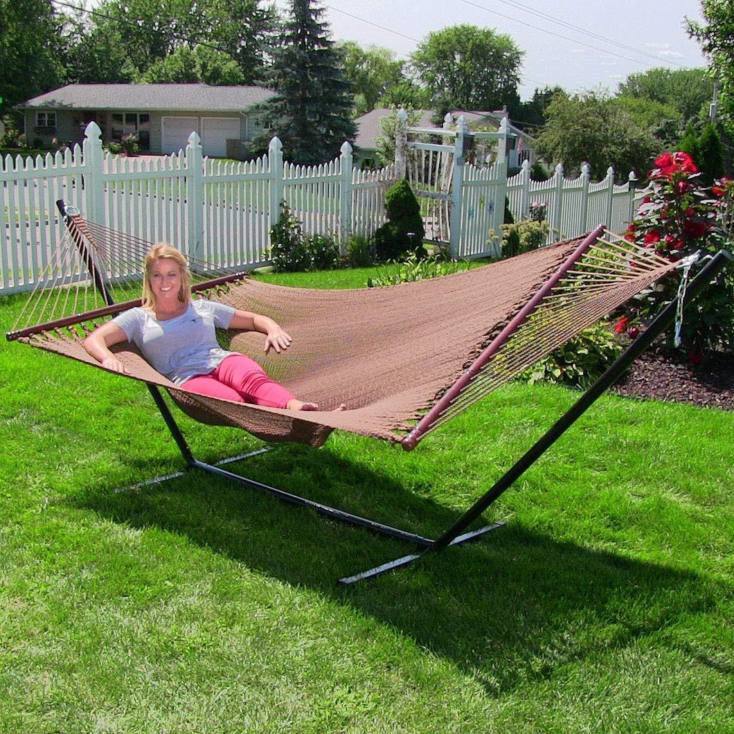 Polyester Soft-Spun Rope Hammock, 51inch Large Double Wide Two Person with Spreader Bars - Project One Products