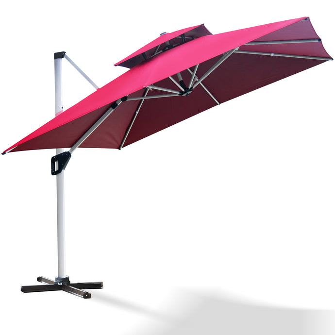 Project One 10ft Patio Umbrella Square Outdoor Umbrella Large Cantilever Umbrella Windproof Offset Umbrella Heavy Duty Sun Umbrella for Garden Deck Pool Patio - Project One Products