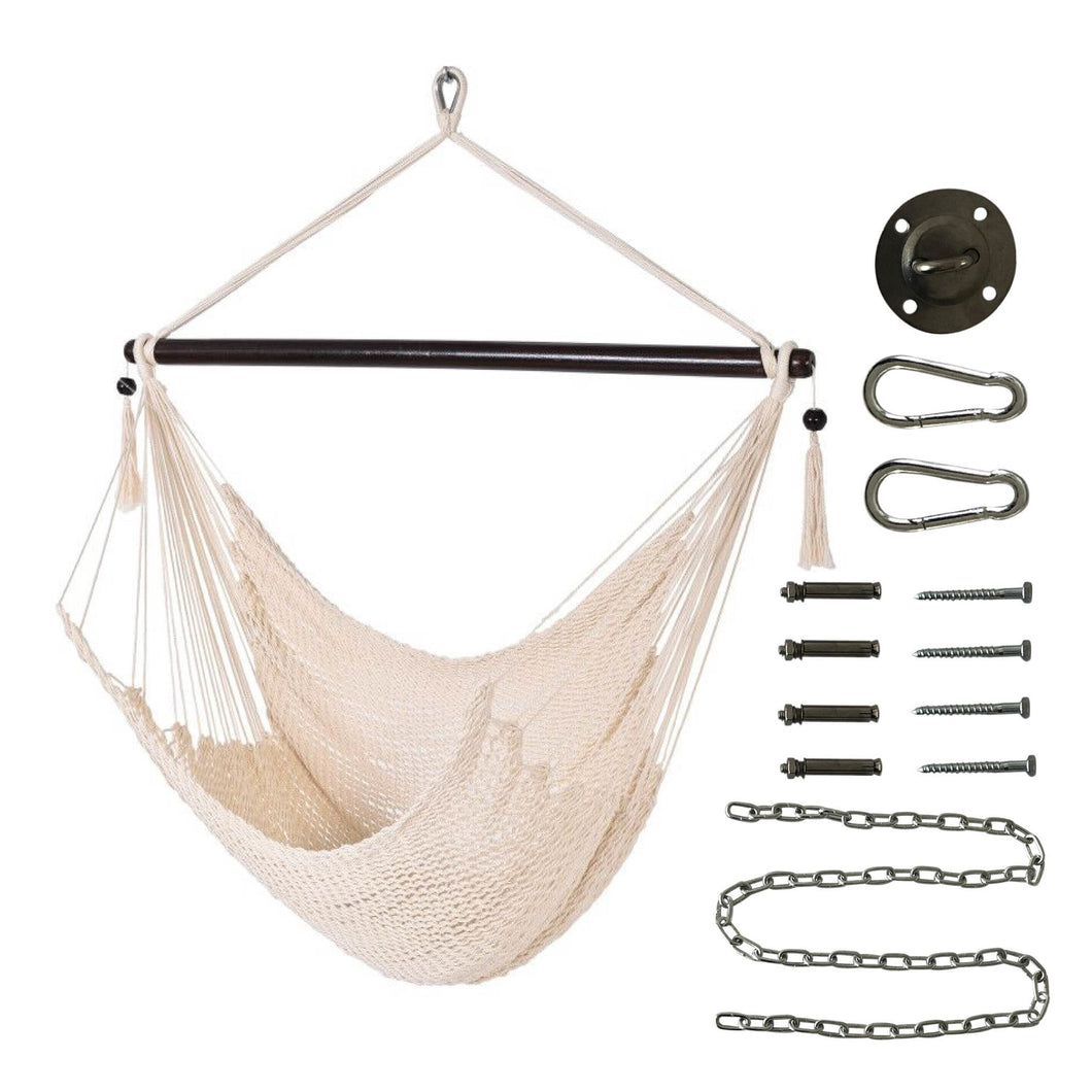 Project One Caribbean Double Hanging Hammock Chair with Soft-Spun Polyester Rope, Max 330 LBS, with Full Hanging Kit Great for Indoor, Outdoor, Home, Patio, Yard, Garden 48 Inch - Project One Products