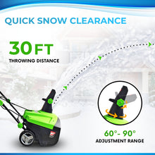 "Load image into Gallery viewer, Project One Electric Snow Blower,|15-Amp| 20-Inch Width Steel Auger Dual Electric Motor Snow Thrower, 180° Chute Rotation, 45"" Vertical, 30 FT Throwing Distance, Electric Lightweight, Low Noise - Project One Products"