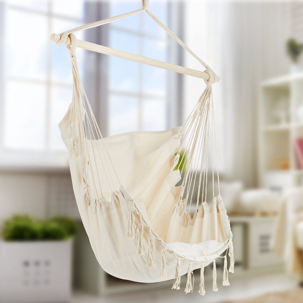 Project One Hanging Rope Hammock Chair, Hanging Rope Swing Seat with 2 Pillows, Carrying Bag, and Hardware Kit Perfect for Outdoor/Indoor Yard Deck Patio and Garden, 300 Pound Capacity - Project One Products