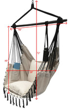 Load image into Gallery viewer, Project One Hanging Rope Hammock Chair, Hanging Rope Swing Seat with 2 Pillows, Carrying Bag, and Hardware Kit Perfect for Outdoor/Indoor Yard Deck Patio and Garden, 300 Pound Capacity - Project One Products
