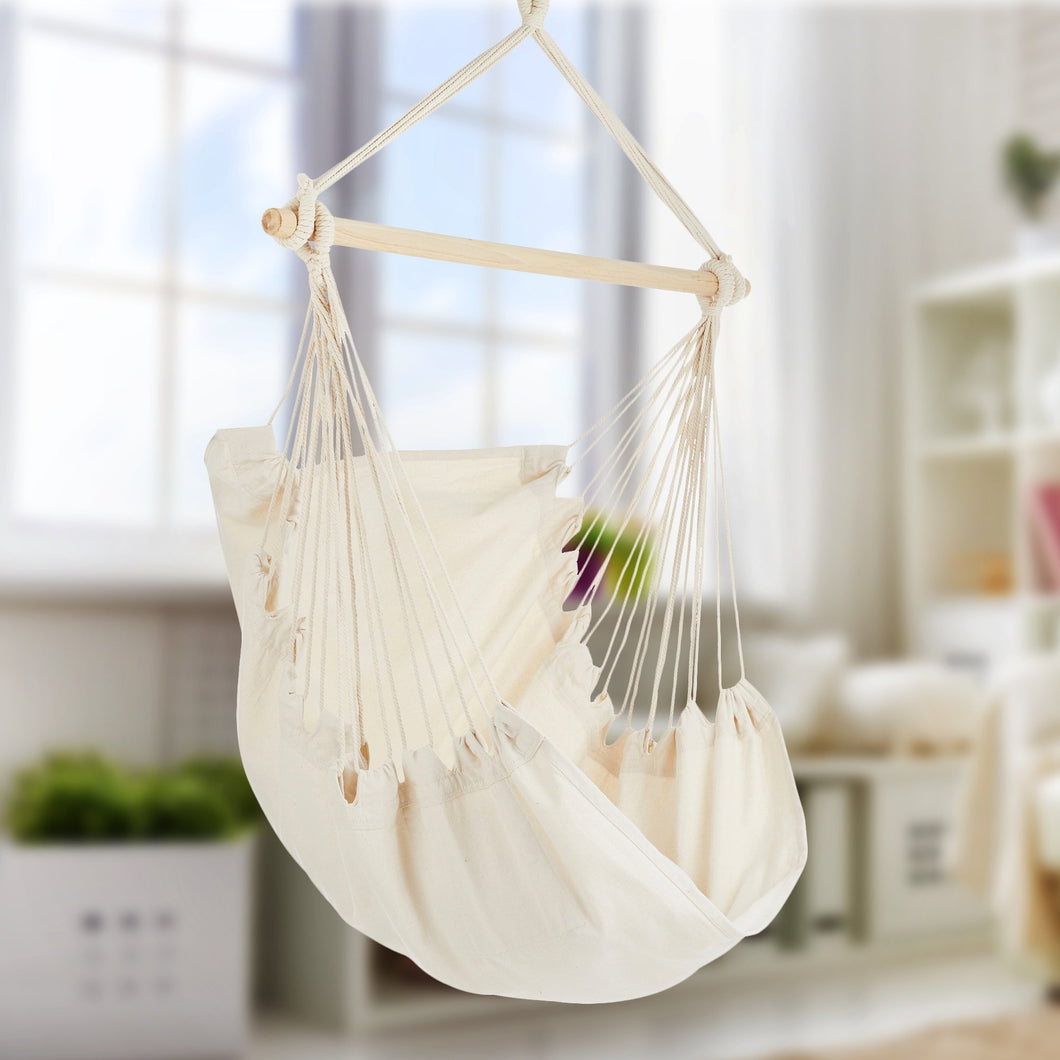 Project One Hanging Rope Hammock Chair, Hanging Rope Swing Seat with Carrying Bag, and Hardware Kit Perfect for Outdoor/Indoor Yard Deck Patio and Garden, 300 Pound Capacity - Project One Products