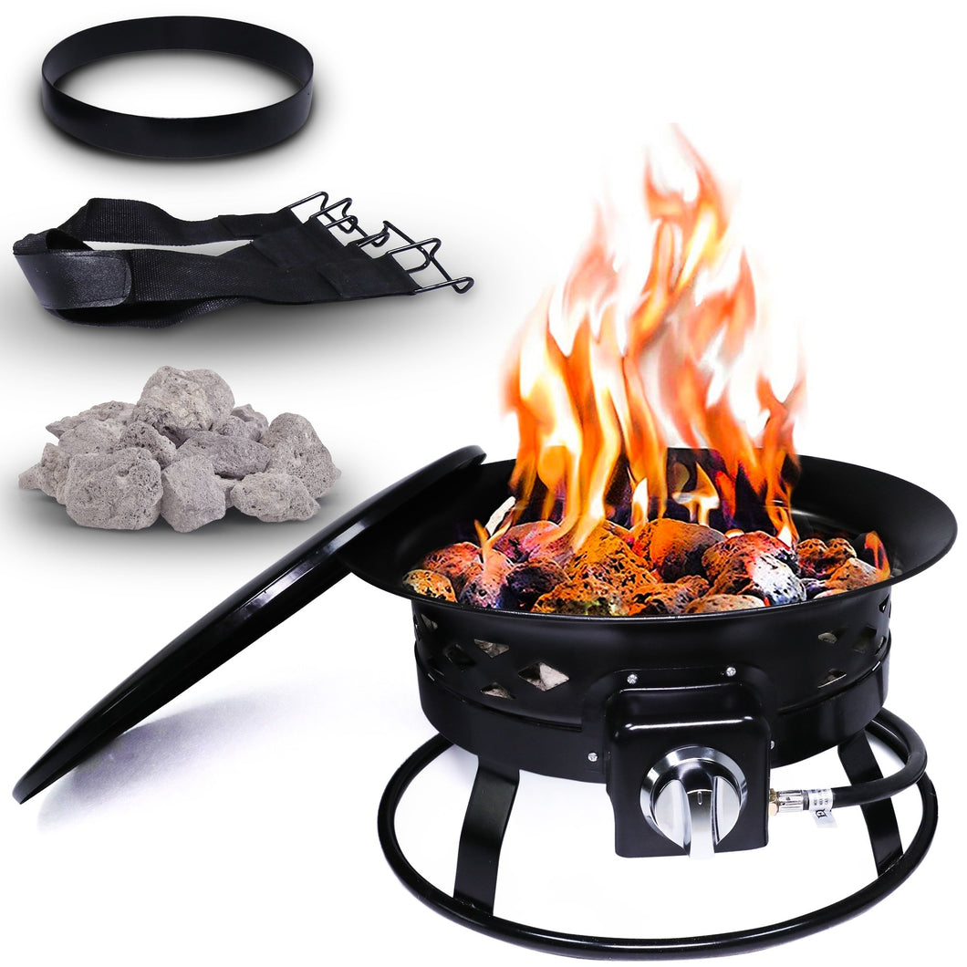 Project One Portable Outdoor Propane Fire Pit with Cover, Carry Kit, & Lava Rocks, 19-Inch Diameter 58,000 BTU, Cross Pattern - Project One Products