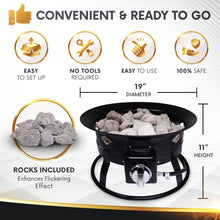 Load image into Gallery viewer, Project One Portable Outdoor Propane Fire Pit with Cover, Carry Kit, & Lava Rocks, 19-Inch Diameter 58,000 BTU, Diamond Pattern - Project One Products