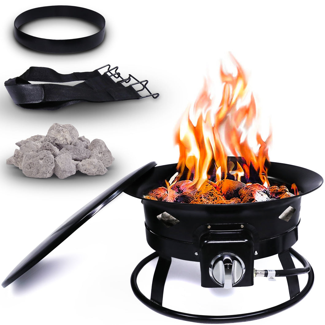 Project One Portable Outdoor Propane Fire Pit with Cover, Carry Kit, & Lava Rocks, 19-Inch Diameter 58,000 BTU, Diamond Pattern - Project One Products
