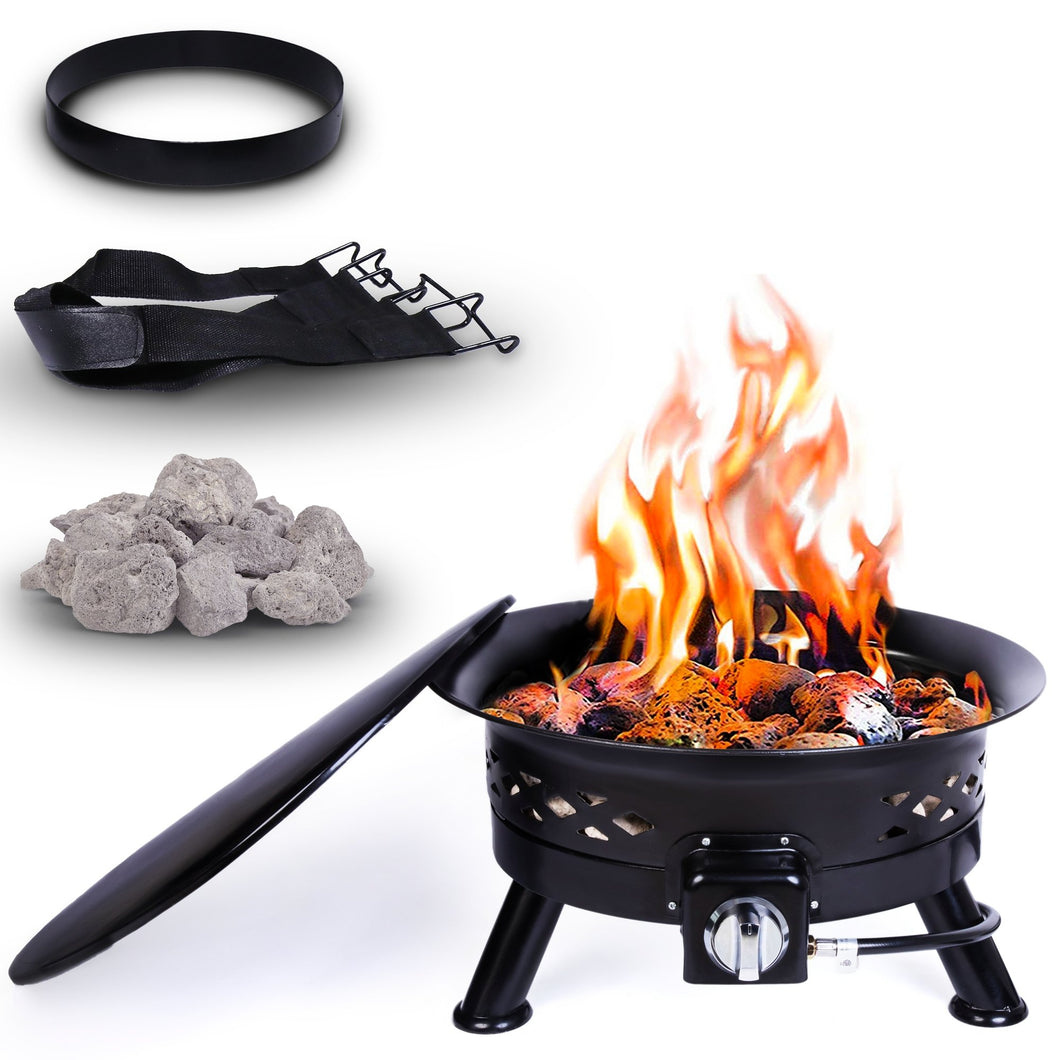 Project One Portable Outdoor Propane Fire Pit with Cover, Carry Kit, & Lava Rocks, 24-Inch Diameter 58,000 BTU, Cross Pattern - Project One Products