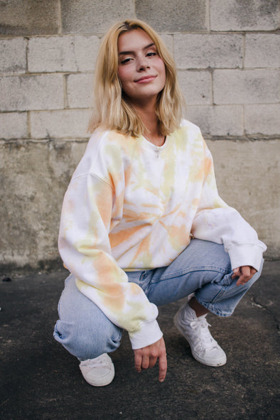 Orange Tie-Dye Pullover Sweatshirt