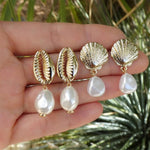 Sea Shell Conch Earrings  Gold Color Pendant Dangle Sumer Jewelry