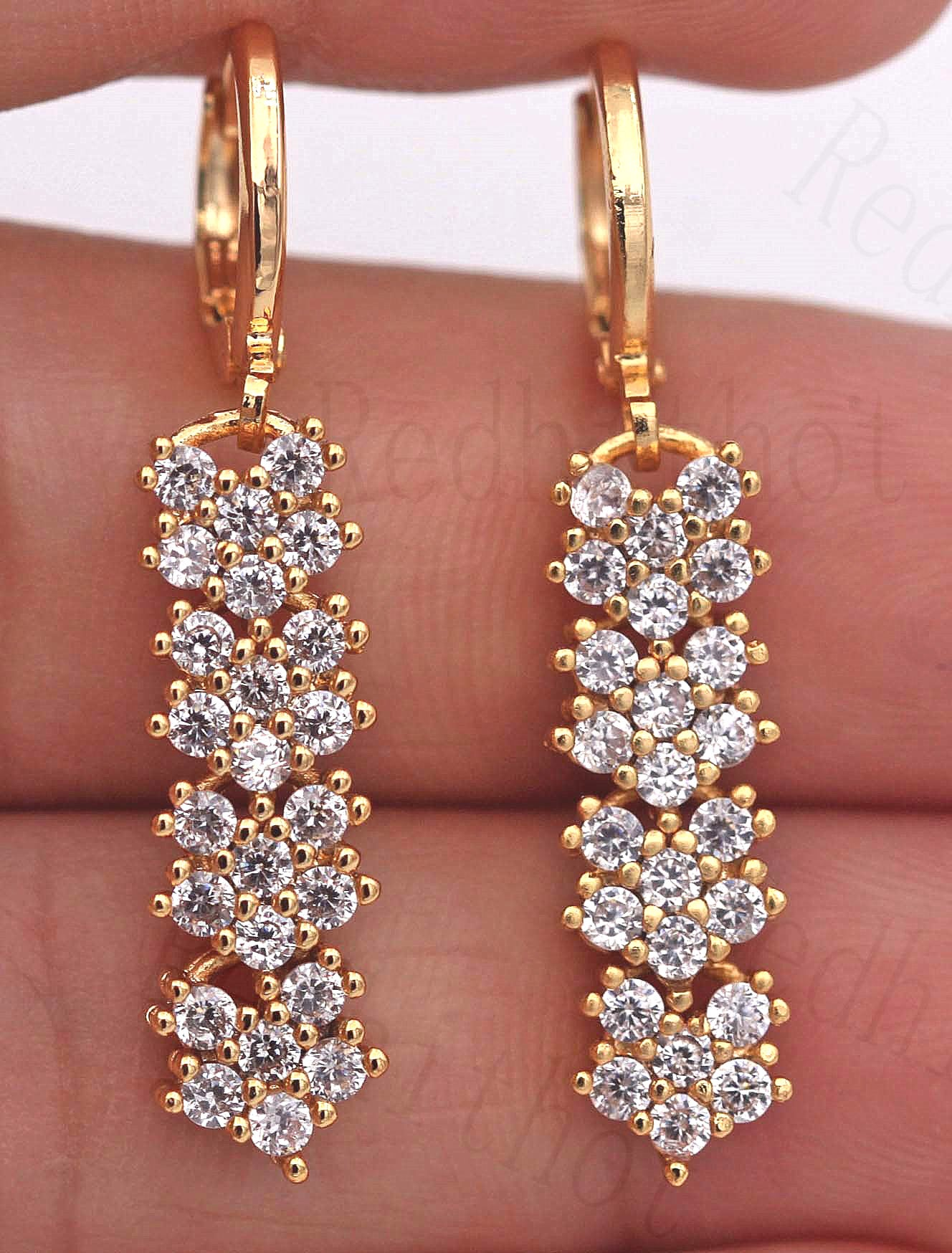 New Bohemian Earrings for Women Gold Filled Flower Zircon Dangle Drop Earrings Luxury Jewelry for Party Wedding Anniversary Gift
