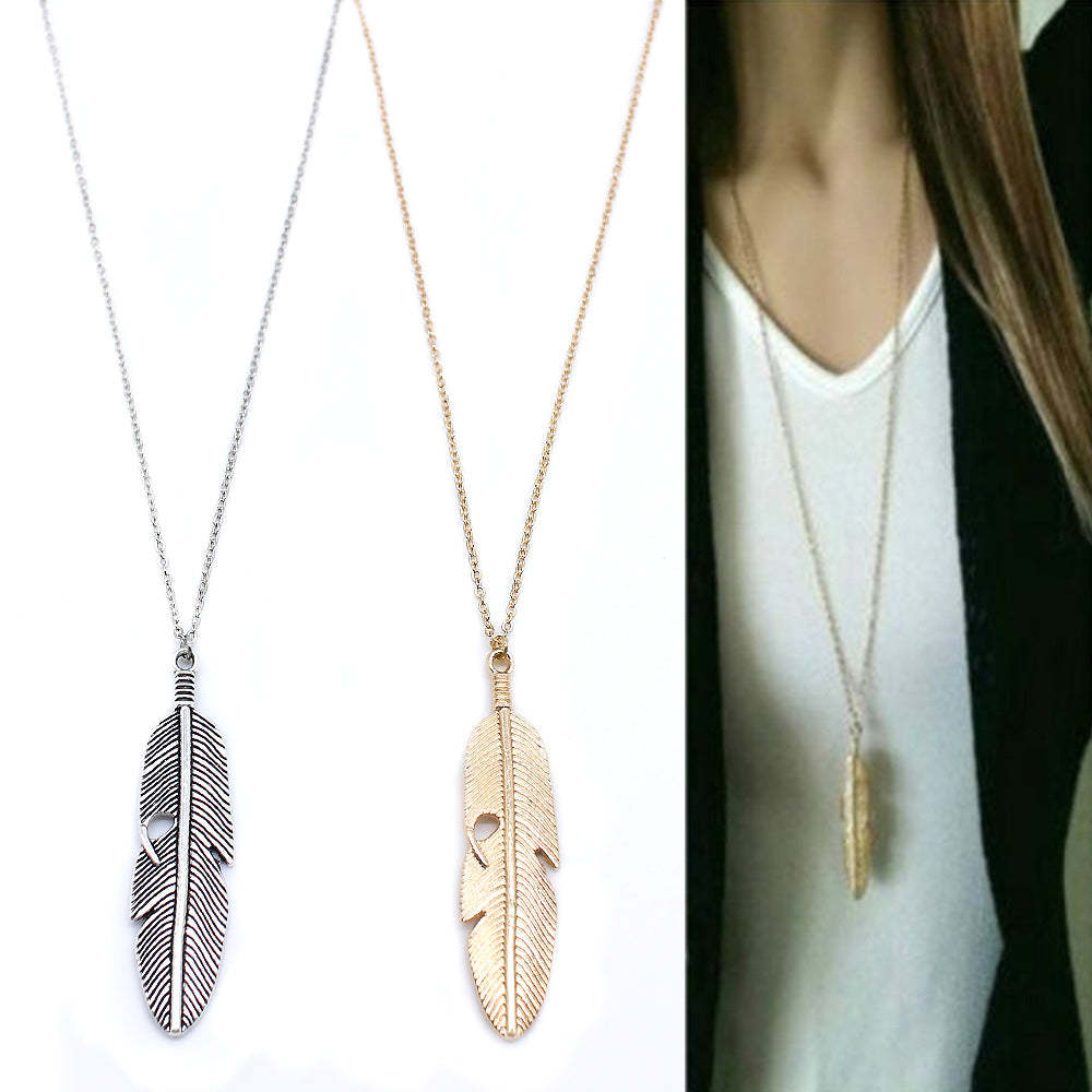 Classic pendant Necklace Long Chain Feather Pendant Jewelry choker Necklace