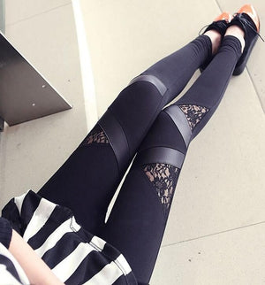 Stylish Bandage Leggings Charming  Splicing  Black leggings Patchwork effect