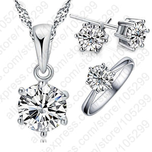 Woman's Birthday Gift Wedding Jewelry Set Fashion 925 Sterling Silver Crystal Necklace Ring Earring 3 pcs