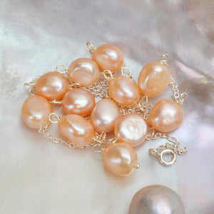 Sterling Silver Natural Baroque Pearl Necklace 9-10mm freahwater pearl For Women  Elegant Jewelry