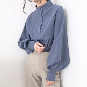 Vintage Lantern Sleeve  Winter Thicken Women Shirt Blouses Single Breasted Blouse Female Loose Shirts