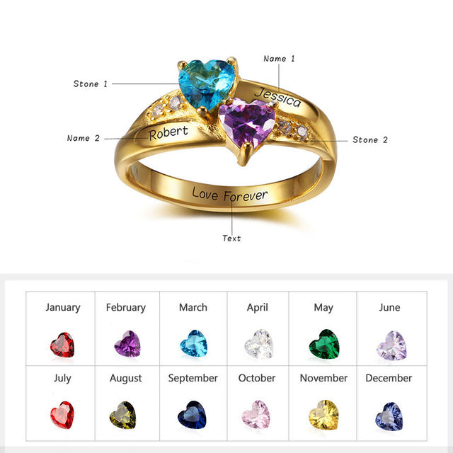 Sterling Silver Personalized Womens Ring with Birthstones Custom Engraved  Rings jewelry