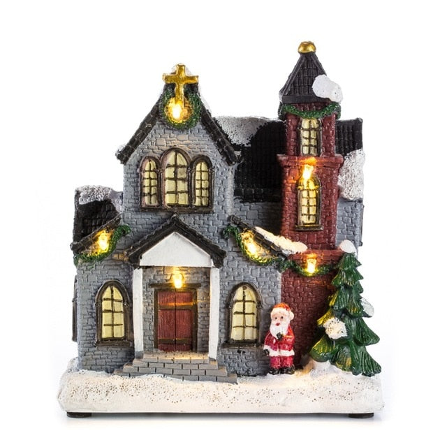 "innodept12 6""Resin Christmas Scene Village Houses Town With Warm White LED Light Holiday Gifts Christmas Decoration For Home"