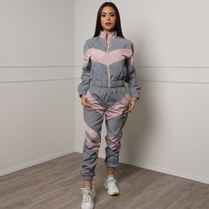 Women Tracksuits 2 Piece Set Reflective Zip Crop Top Pants WindbreakerGlow Jacket Coat Trousers Plus Size anytime wear