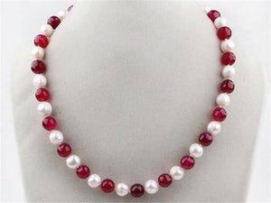 Long 18 inches 7-8mm Real Natural White Pearl & Red jade Round Beads Necklace jewelry