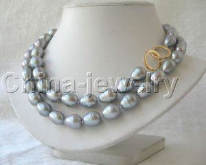 "fast 32"" 12mm natural gray baroque freshwater pearl necklace-/20 AAA jewelry"
