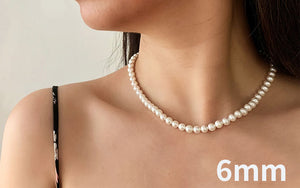 Elegant  Jewelry Classic  Wedding Necklace 4-10mm Shell Pearl Cream jewelry