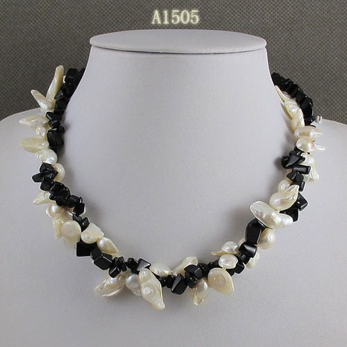 Unique Pearls jewelry Store,Black Agates White Color Baroque Real Freshwater Pearl Necklace,Charming Women Gift Jewelry