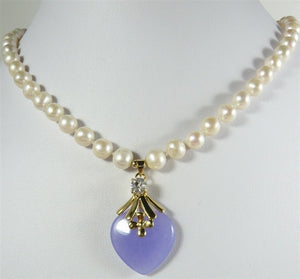 jewelry Beautiful Freshwater pearl and purple heart shape jades pendant Necklace