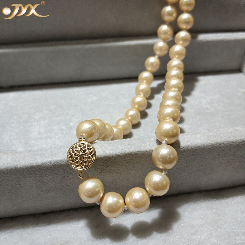 "JYX Shell Pearl Necklace Jewelry  8-8.5mm Round Golden color Sea Shell Pearl Necklace 18"" High Luster top necklace"
