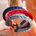 Solid Color Velvet Braid and Twist Headband with Teeth Hair Accessories