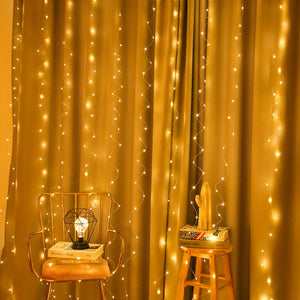 3*3m LED Copper Wire Curtain String Lights USB Waterproof Fairy Lights New Year Christmas Decorations for Home Navidad Xmas. Q