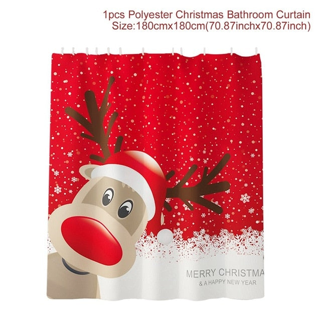 Santa Claus Curtain Rug Christmas Decoration For the Bathroom
