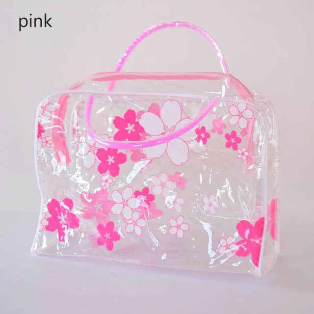 Transparent PVC Floral Storage Waterproof Make Up Organizer Cosmetics Bag
