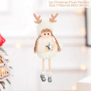 FengRise Cute Angel Doll Girl Ski Pendant Christmas Tree Decorations for Home Wooden Christmas Tree Ornaments Xmas Gift for Kids