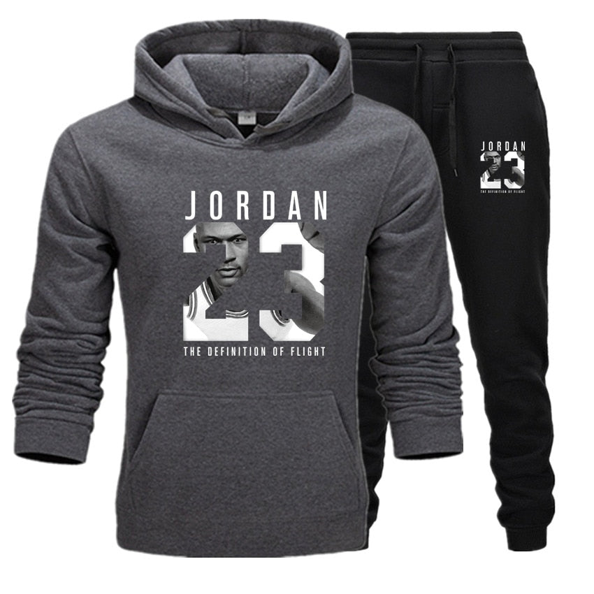 Men Hoodies Suit Jordan 23 Tracksuit Sweatshirt Suit Fleece Hoodie+Jogging pants