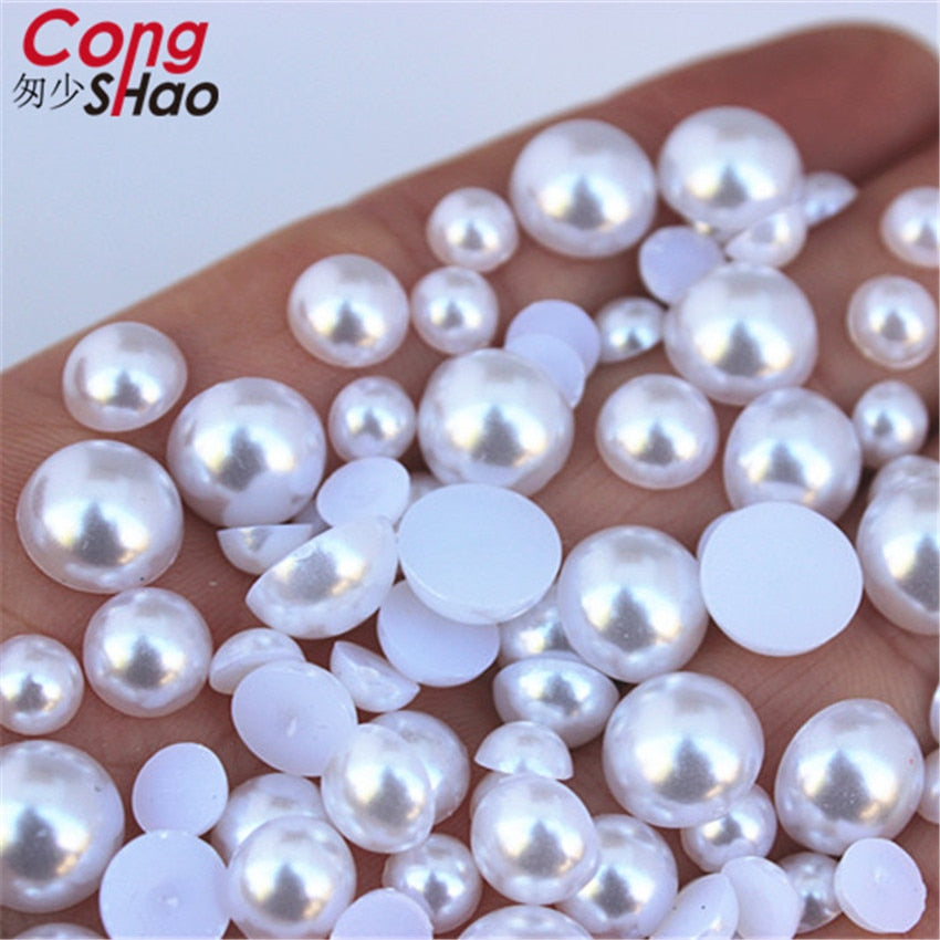 Flatback Half Round Pearl Craft ABS Imitation Pearl Acrylic Rhinestones Scrapbook Beads 3D Non HotFix Nail Art Decoration WC134