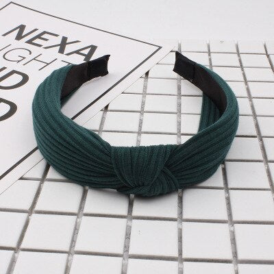 Multicolor Knitting Headband Retro Bow Elastic Hair Band  Hair Accessories