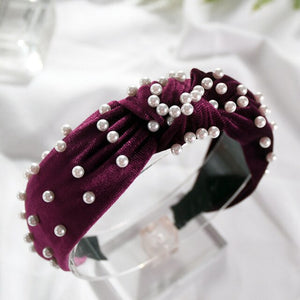 Wide Hair Hoop Velvet Pearls Headband Vintage  Headwear Hair Accessories